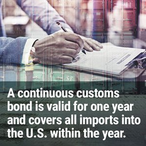 A continuous customs bond is valid for one year