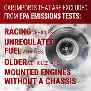 Car imports that are excluded from EPA emissions tests