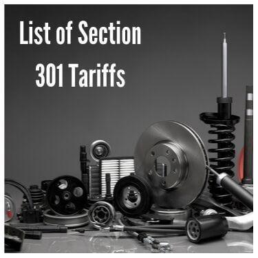 list of Section 301 tariffs