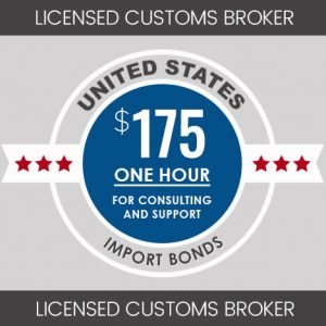 $175 for one hours consulting and support services USA licensed customs broker