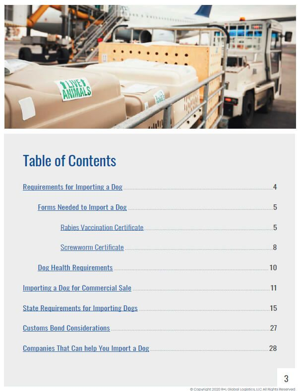 A Guide to Importing Dogs Table of Contents Page