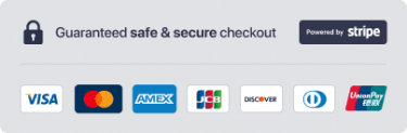 Guaranteed Safe and Secure checkout Powered by Stripe Trust Badge